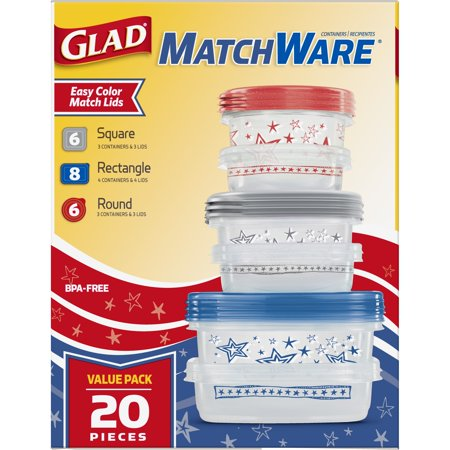 Best Glad Food Storage Containers - Glad MatchWare Variety Pack - 10 Containers - 20 Piece Set deal