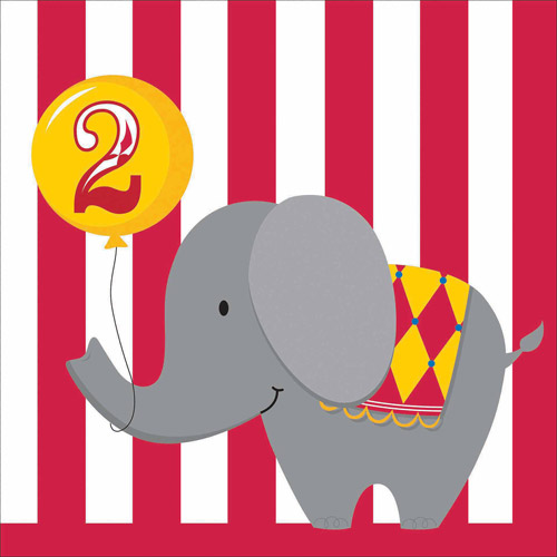 Creative Converting Circus Time! Happy 2nd Birthday Napkins