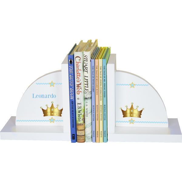 Personalized Prince Crown Blue Childrens Bookends