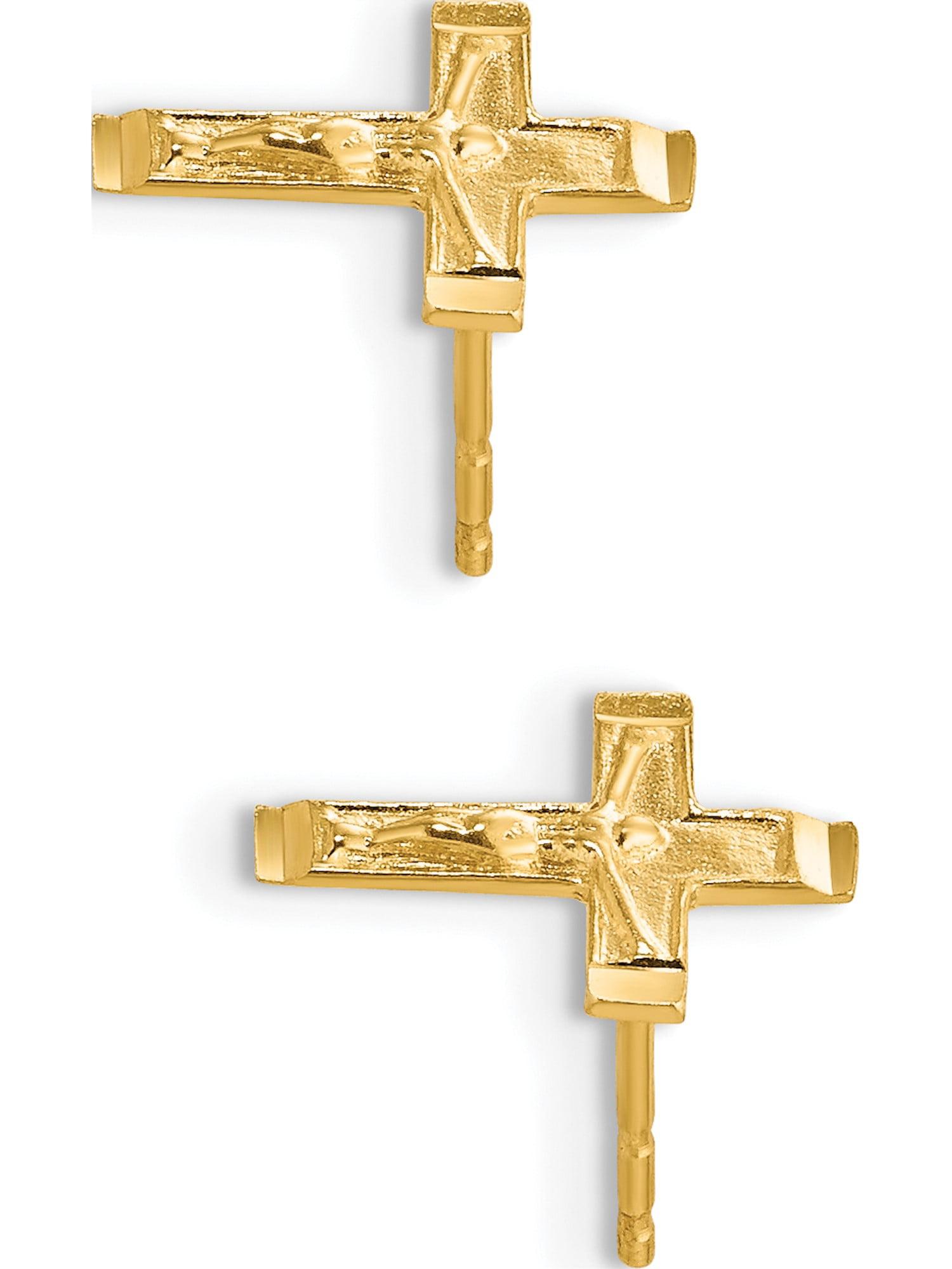 Women//Children/'s 14K Solid Yellow Gold 8x10MM Angel Stud Earrings PushBack
