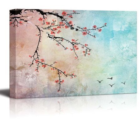 wall26 Beautiful Watercolor Illustration of Cherry Blossoms and Birds in the Sky - Canvas Art Home Decor - 16x24 (Cherry Blossom Illustration)