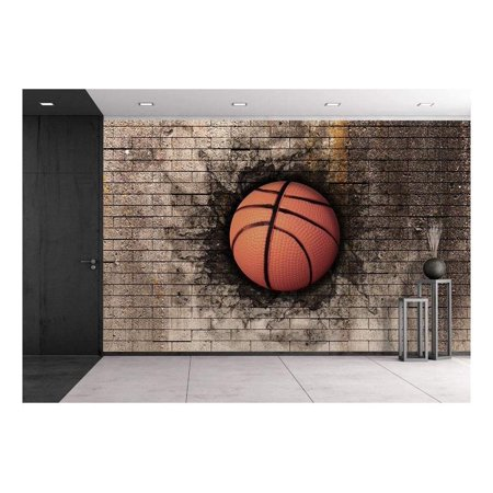wall26 - 3d rendering of a basket ball embedded in a brick wall - Removable Wall Mural | Self-adhesive Large Wallpaper - 100x144 inches
