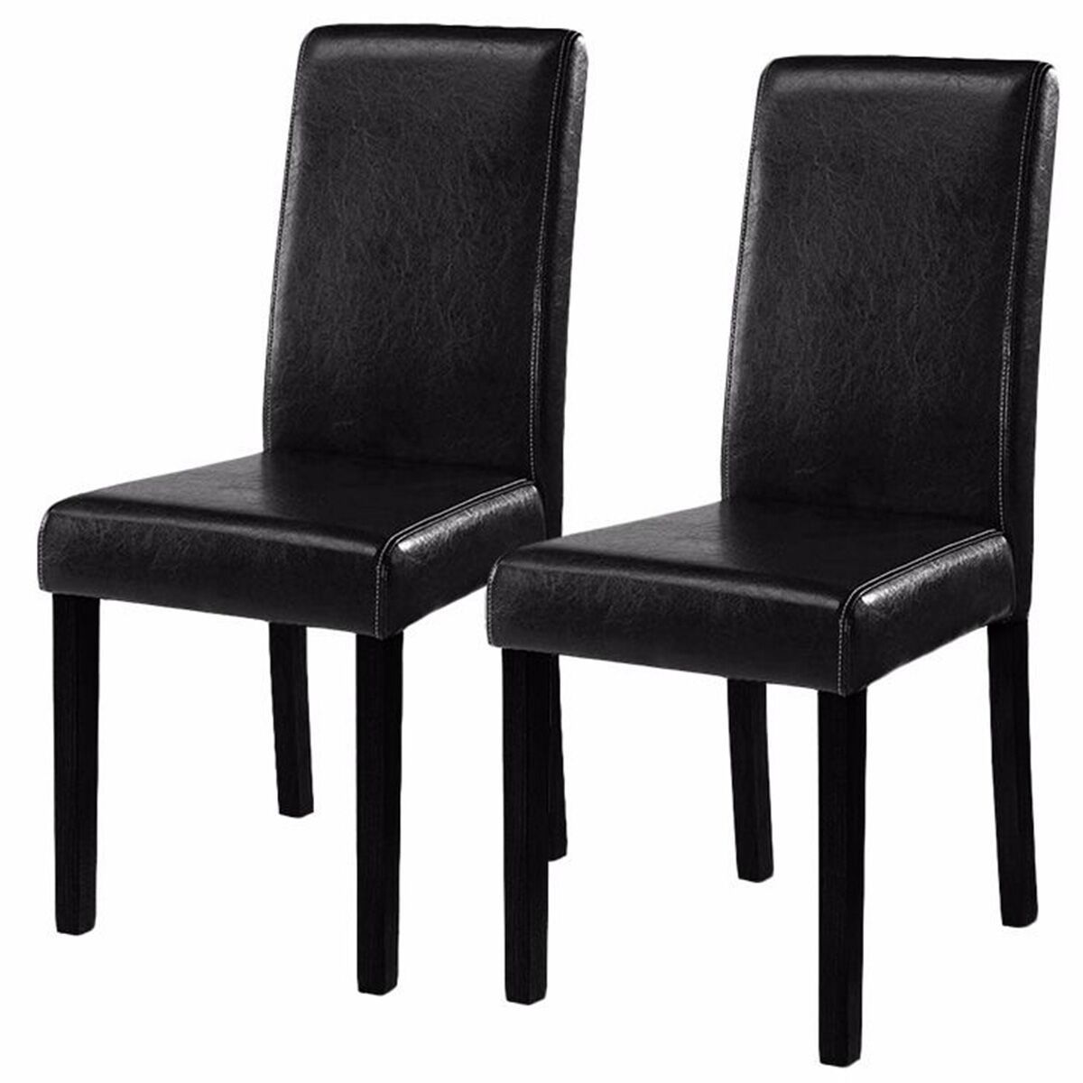 Costway Set of 2 Black Elegant Design Leather Contemporary Dining Chairs Home Room by Costway