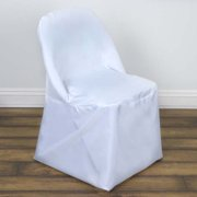 Linen Polyester Dinning Wedding Folding Chair Cover, White