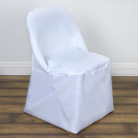 Folding Chair Seat Covers (Linen Polyester Dinning Wedding Folding Chair Cover, White )