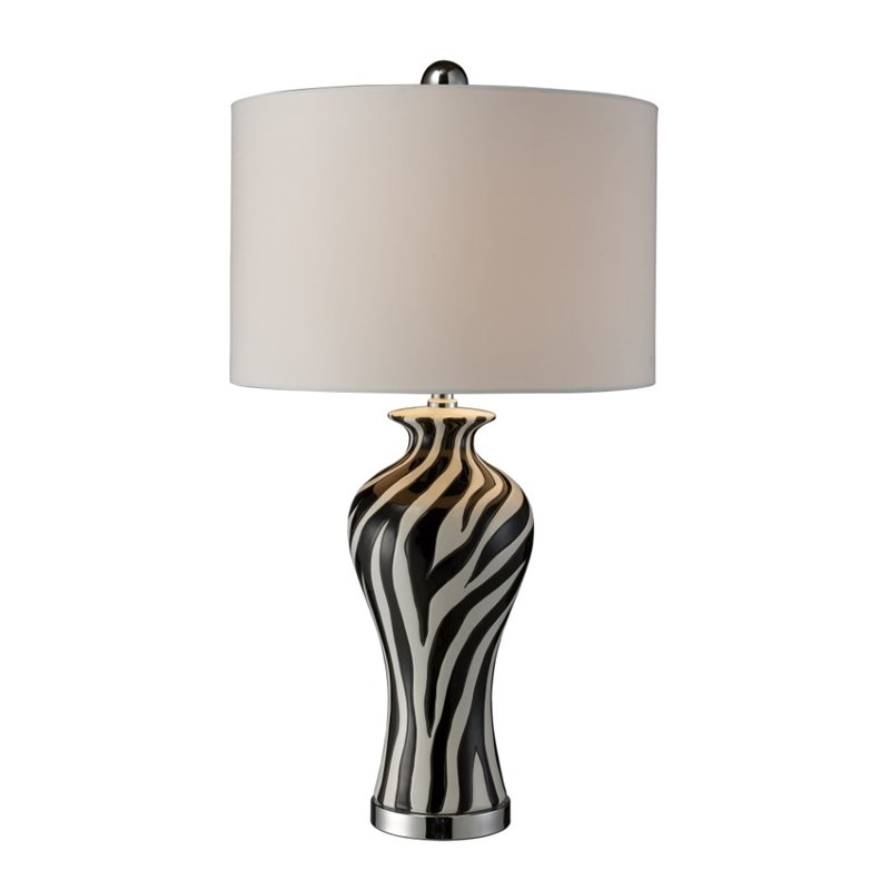 Carlton Led Table Lamp In Zebra Print