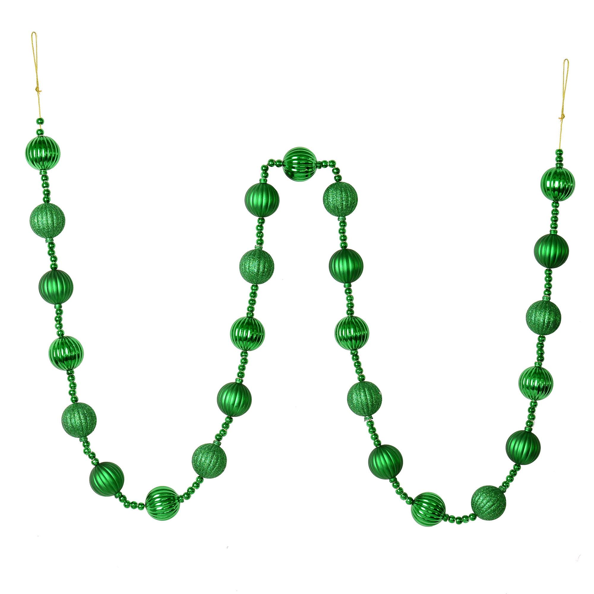 6' Emerald Stripe Ball Ornament Garland