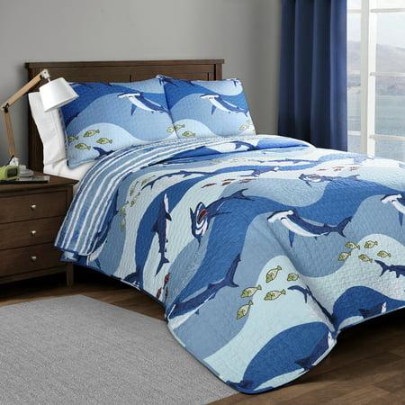 Lush Decor Shark Allover Sealife Cotton Reversible Quilt, Twin, Blue, 2-Pc Set
