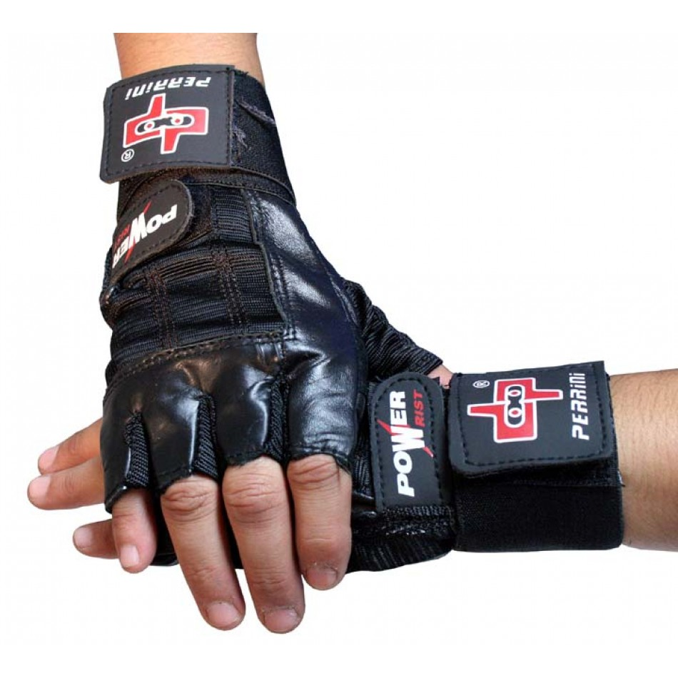 Perrini Leather Workout Weight Lifting Fingerless Gloves Wrist Band All Sizes