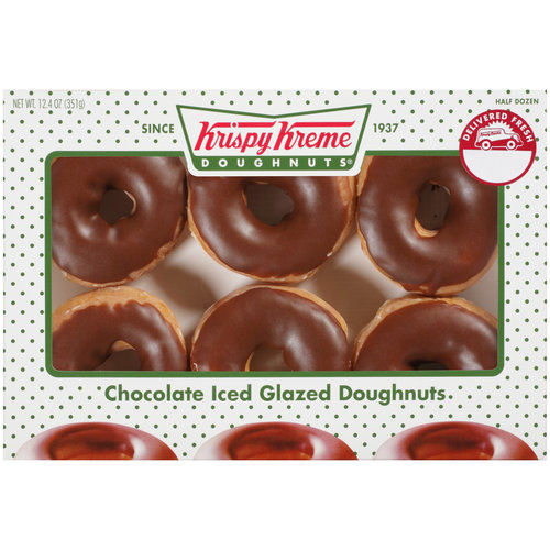 Krispy Kreme Doughnuts Chocolate Iced Glazed Doughnuts, 6ct