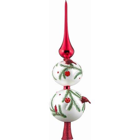 glitterazzi red cardinal bird finial polish glass christmas tree topper 16 inch - Red Bird Christmas Tree Decorations