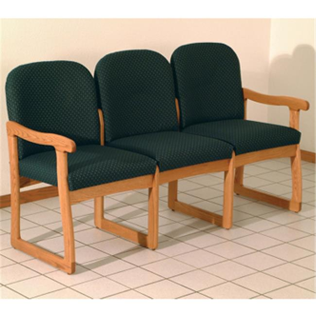 Wooden Mallet DW8-3MOWR Prairie Three Seat Sofa in Medium Oak - Watercolor Rose