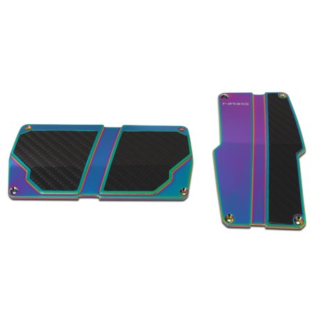 NRG Innovations PDL-150MC Aluminum Automatic Transmission AT Foot Pedal Cover Plates w/Carbon Fiber Trim ()