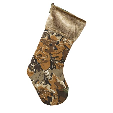 - Fun Christmas Camo Tree Leaf Hunter Camouflage Stocking With Faux Fur Cuff Decor