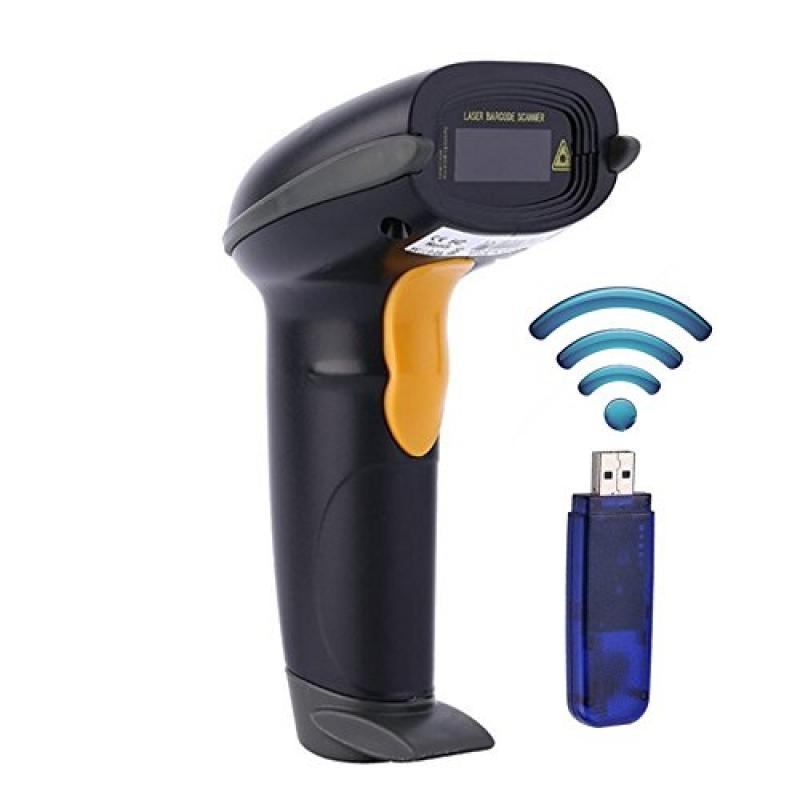 WoneNice Wireless Barcode Scanner Reader long transmission distance 328ft (100m) Automatic Cordless Handhold Bar code Scanner with USB Receiver for Mac Windows Quickbooks Linux, 433MHz Laser Network
