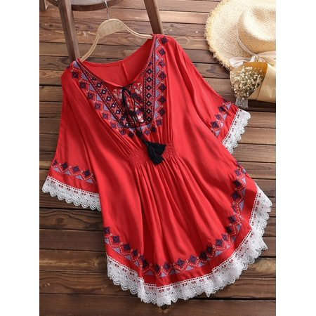 Retro Women Folk Style Cotton Loose Batwing Sleeve Blouse Lace Up Tops