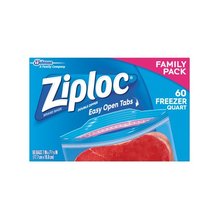 Ziploc Pinch & Seal Freezer Bags, Quart, 60 Count 1 Quart Zip Top Bag