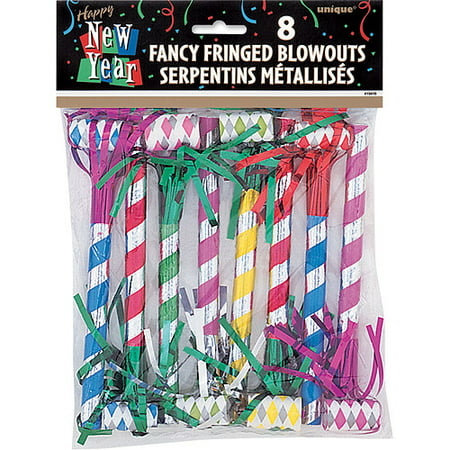Fancy New Year Fringed Blowers, 8-Count (New Years Eve Blowers)