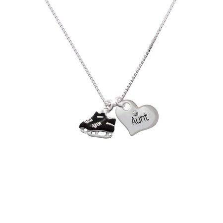 Silvertone Black Ice Skates Aunt Heart Necklace](Skate Jewelry)