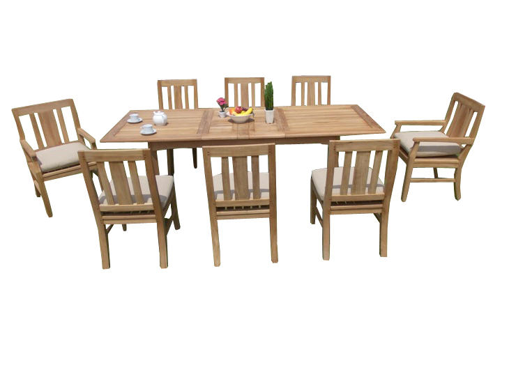 "Click here to buy 9 PC A Grade Outdoor Patio Teak Dining Room Set 94"" Double Extension Rectangle Table & 8 Osawa Chairs (6...."