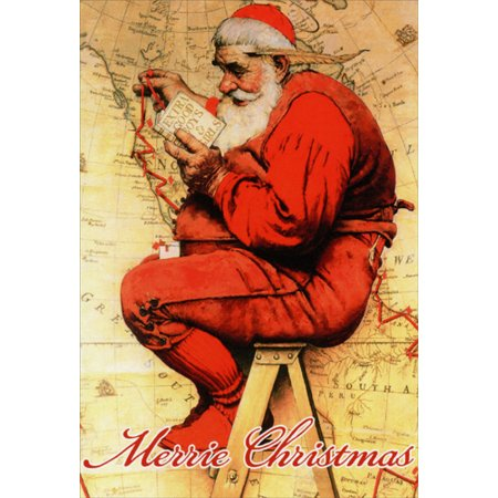 Nobleworks Saturday Evening Post: Santa's List Norman Rockwell Christmas Card ()