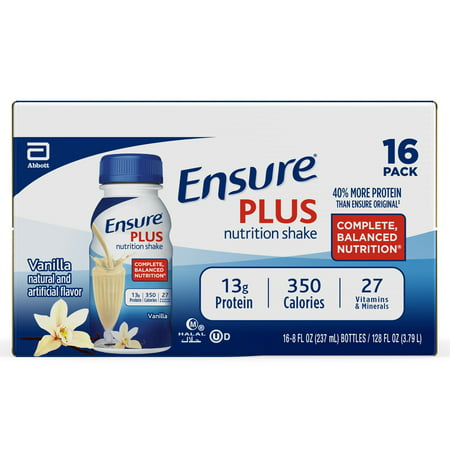 Ensure Plus Meal Replacement Nutrition Shake, Vanilla, 13g Protein, 8 Fl Oz, 16 Ct Complete Balanced Nutrition Shakes Butter