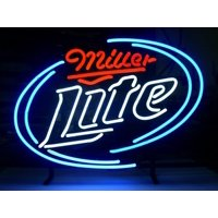 """Desung Brand New Miller Lite Neon Sign Handcrafted Real Glass Beer Bar Pub Man Cave Sports Neon Light 20""""x 16"""" WM10"""