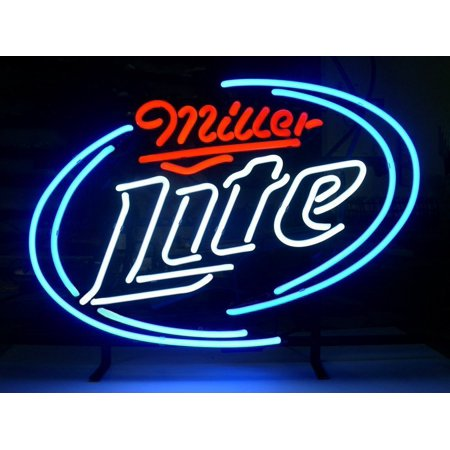 - Desung Brand New Miller Lite Neon Sign Handcrafted Real Glass Beer Bar Pub Man Cave Sports Neon Light 20