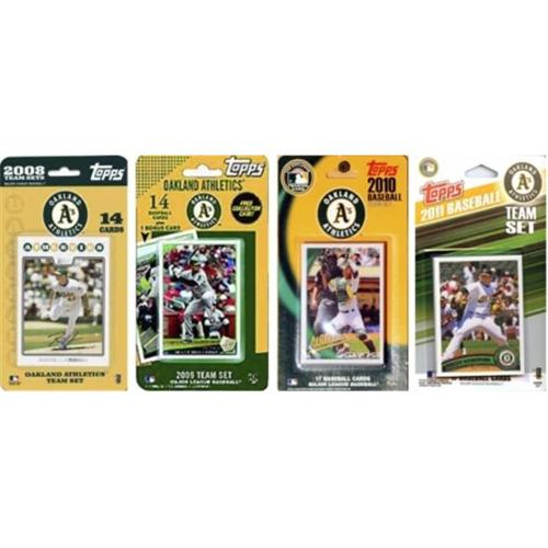 C & I Collectables AS411TS MLB Oakland Athletics 4 Different Licensed Trading Card Team Sets