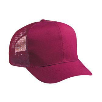 OTTO Cotton Blend Twill Youth 6 Panel Pro Style Mesh Back Trucker Hat - Burg. (Style Cotton Blend)