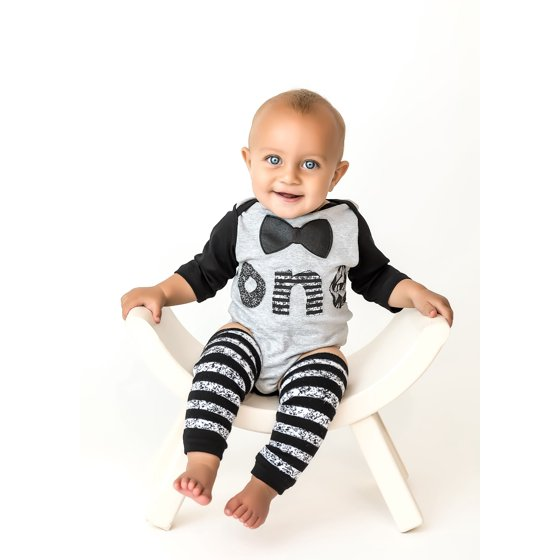 3dd1ec0f0 1st Baby Boys First Birthday Onesie Classy Outfit Set Bow Tie Shirt Black  White Cake Smash 5 Piece Set 12-18 mnth