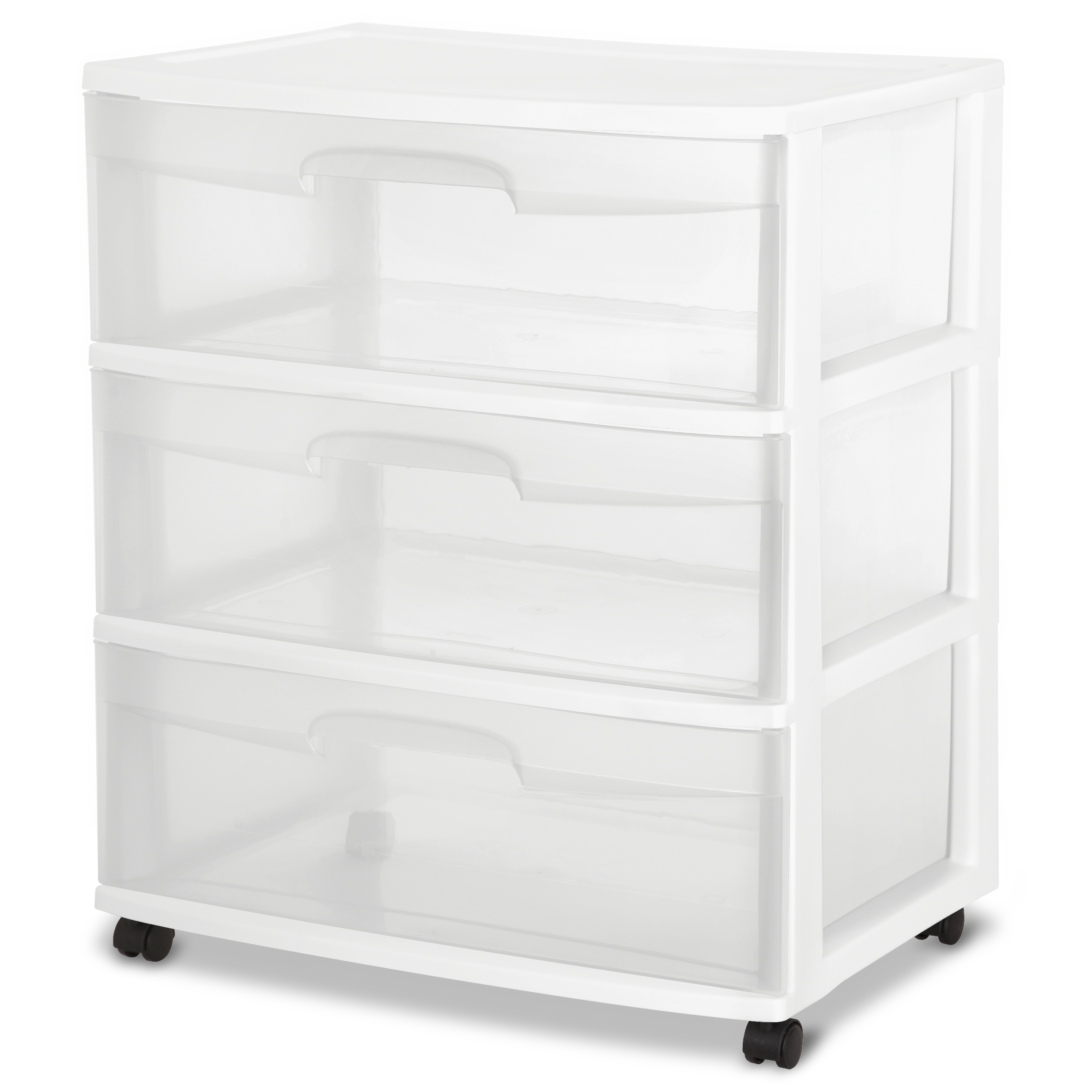Sterilite 3 Drawer Wide Cart, White
