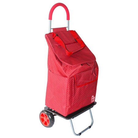 Olive Trolley - dbest Bigger Folding Trolley Dolly, Red Pin Dot