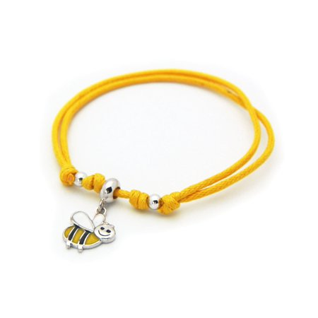 BecKids Sterling Silver Yellow Cord Bracelet Bumble Bee Enamel Charm - Adjustable