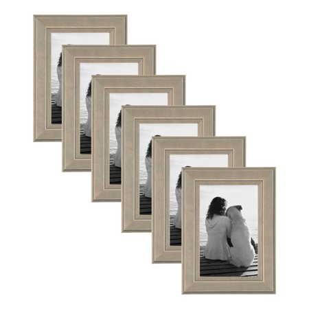 Wood Photo Frames (DesignOvation Kieva Solid Wood Picture Frame, Distressed Gray 4x6, Pack of)