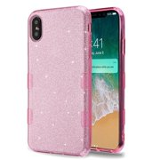 Apple iPhone Xs Max (6.5 in) Phone Case Slim TUFF HYBRID Bling Glitter Candy Silicone Rubber Gel Hard Protective Case Cover - Pink Glittering Phone Case for Apple iPhone Xs Max