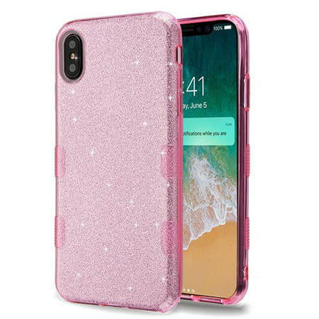 new concept 75578 7795f Apple iPhone Xs Max (6.5 in) Phone Case Slim TUFF HYBRID Bling Glitter  Candy Silicone Rubber Gel Hard Protective Case Cover - Pink Glittering  Phone ...