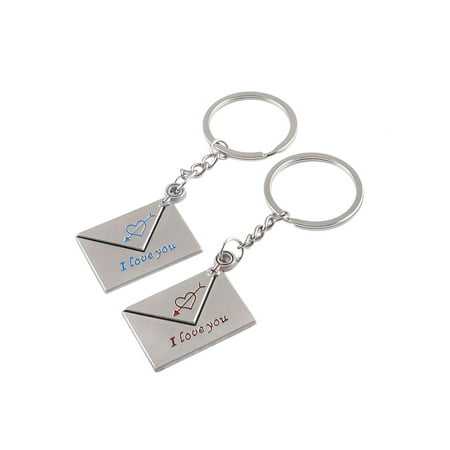 Message Keychain - Pair Silver Tone Heart Print Message Icon Dangle Key Ring Keychain for Lovers