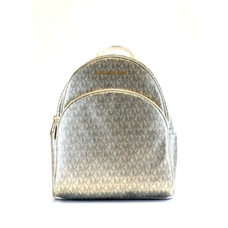 BRAND NEW WOMENS MICHAEL KORS ABBEY MEDIUM PALE GOLD SIGNATURE PVC BACKPACK (Golf Backpack)