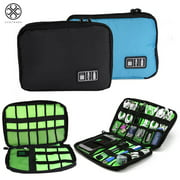 Luxtrada Portable Electronics Accessories Storage Bag Travel Gadget Organizer For Hard Drives, USB Adapter, USB Flash Drives, Traveling Camping Hiking (Black)