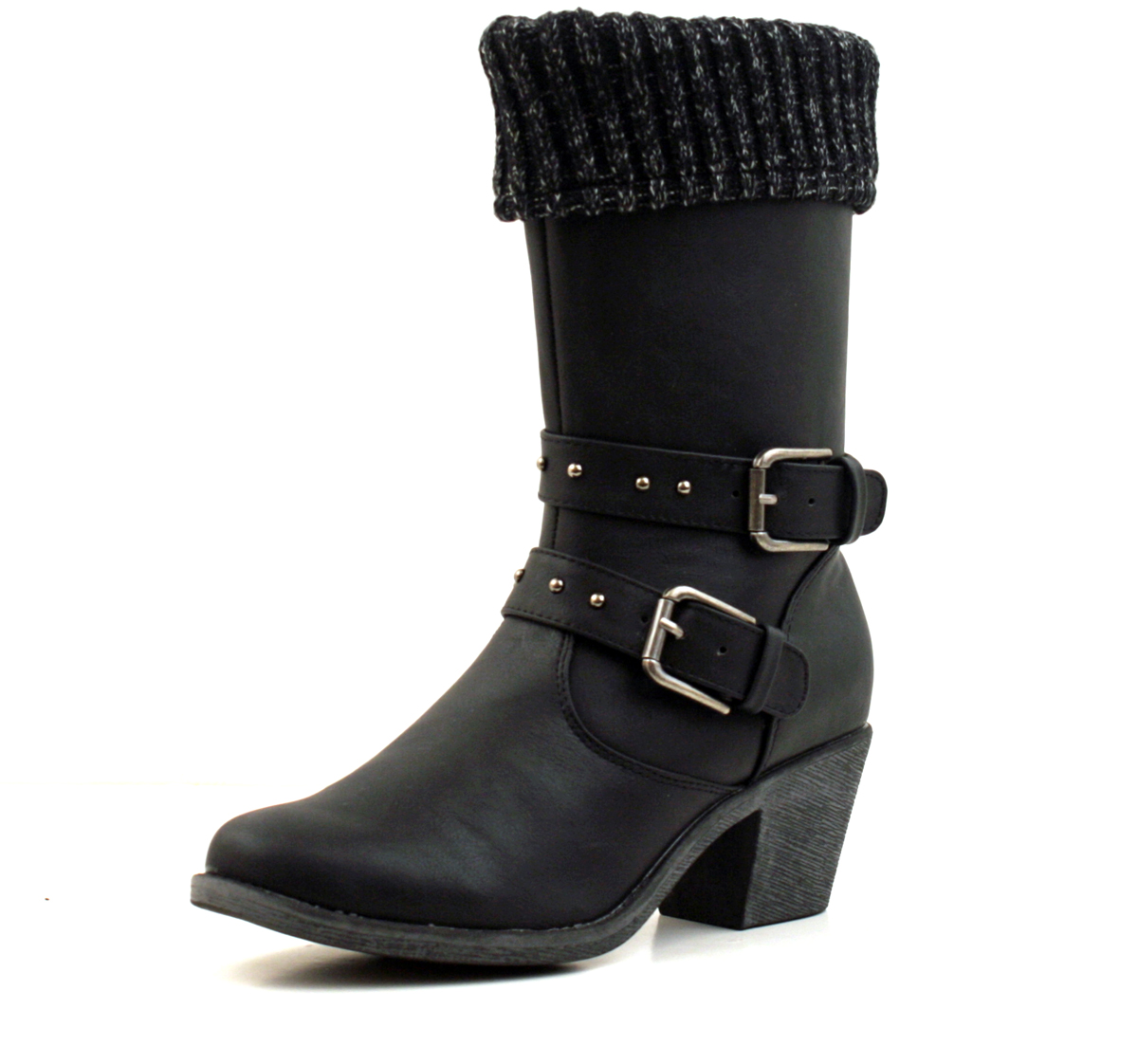 Luckers Womens Sweater Cuff Mid Calf Boots Color Black Size 8 Bm Us