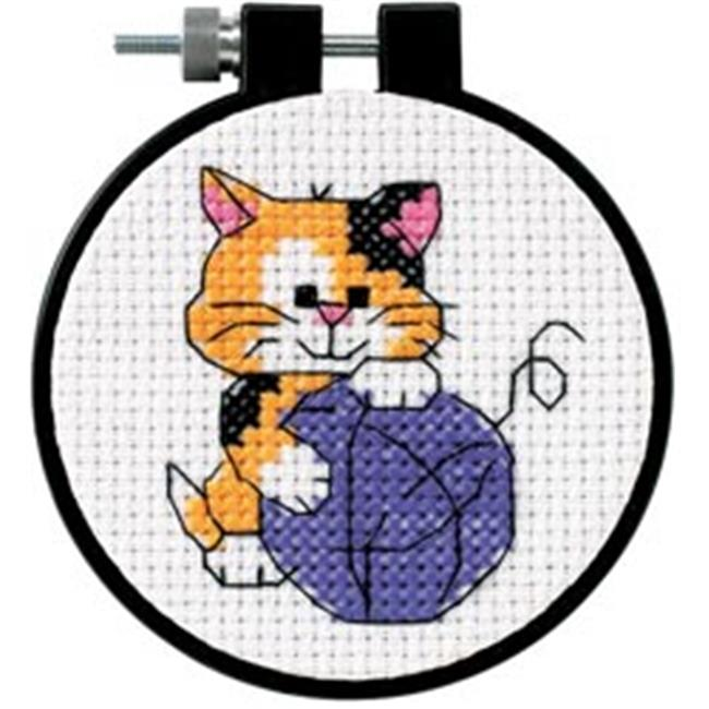 288256 Learn-A-Craft Cute Kitty Counted Cross Stitch Kit-3 in. Round