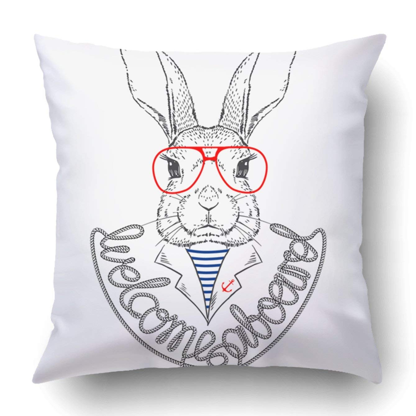 WOPOP Bunny Sailor Isolated on White Pillowcase Throw Pillow Cover Case 20x20 inches
