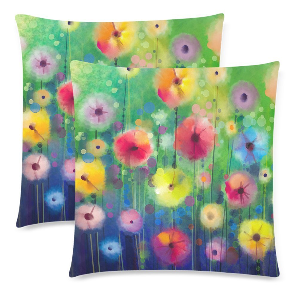 YKCG Floral Seasonal Nature Summer Spring Autumn Winter Flower Pillowcase Pillow Cover 18x18 Twin Sides, Abstract Watercolor Painting Zippered Pillow Cushion Case Shams Decorative, Set of 2