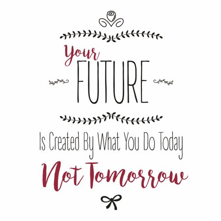 Aluminum Your Future Is Created By What You Do Today Not Tomorrow Designs Inspirational Motivational Signs Comme, 12x12