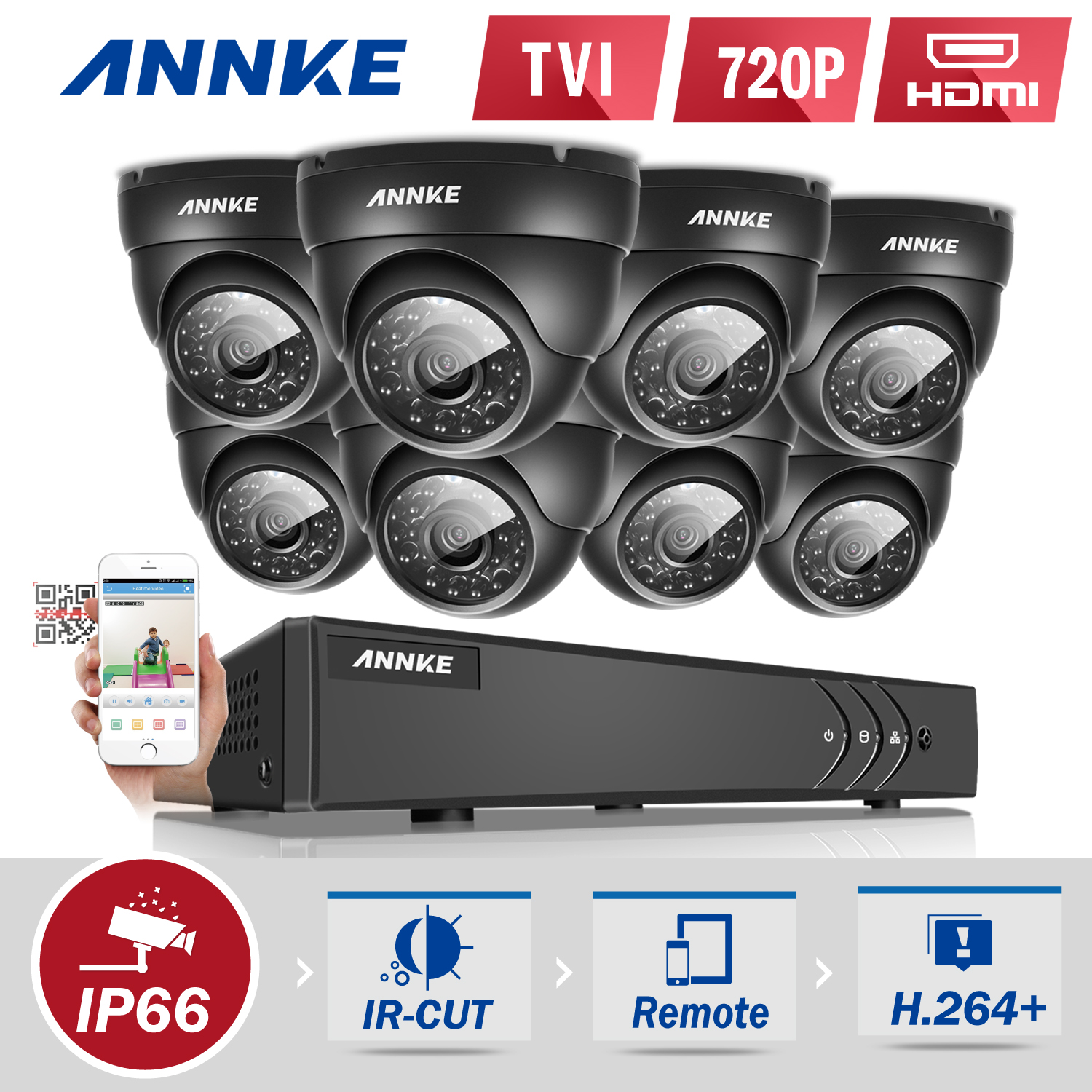 Annke 8-Channel HD-TVI 1080P Lite Video Security System DVR and 8 Weatherproof Indoor/Outdoor Cameras IR Cut Night Vision(0-NO HDD,1-1TB HDD)