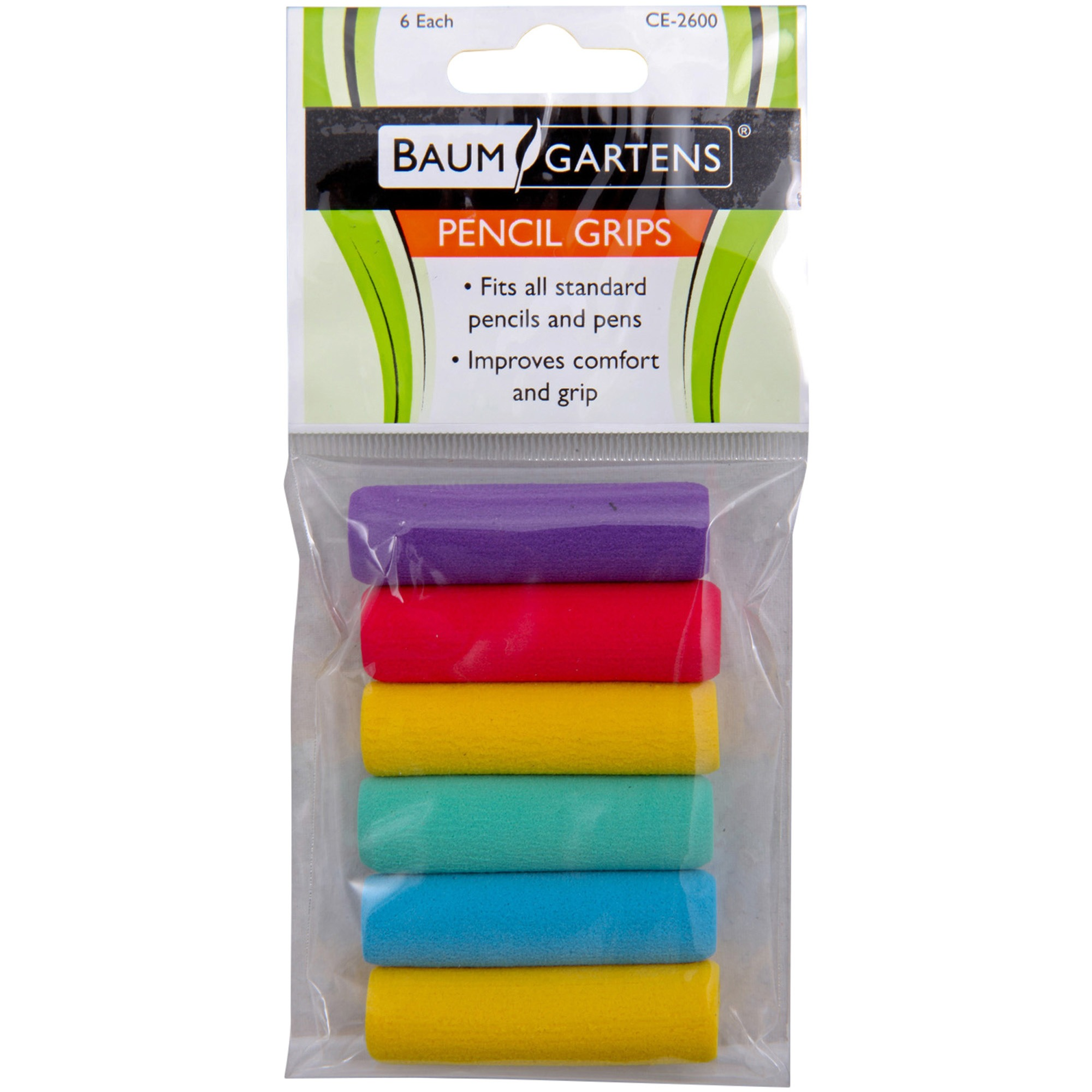 Foam Pencil Grips 6pk, Assorted Colors