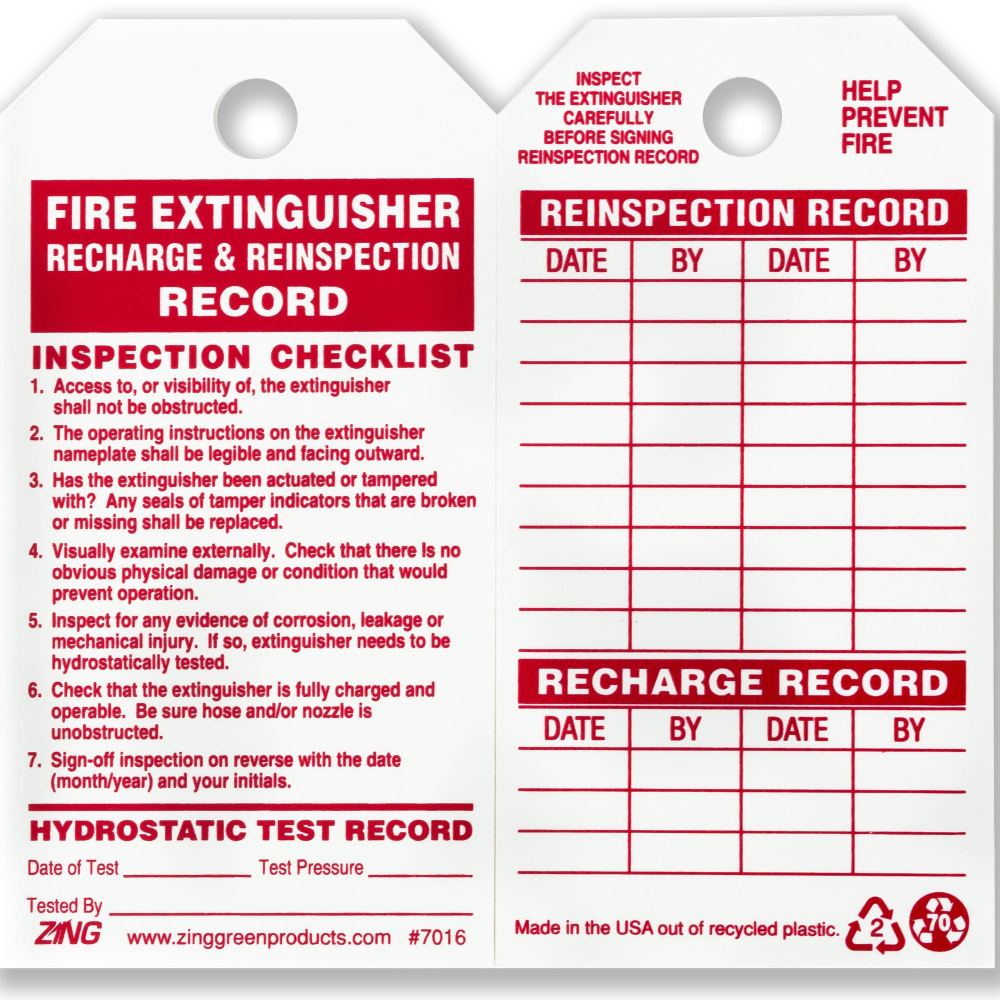 ZING Eco Safety Tag, Fire Extinguisher, 5.75Hx3W, 10-Pack