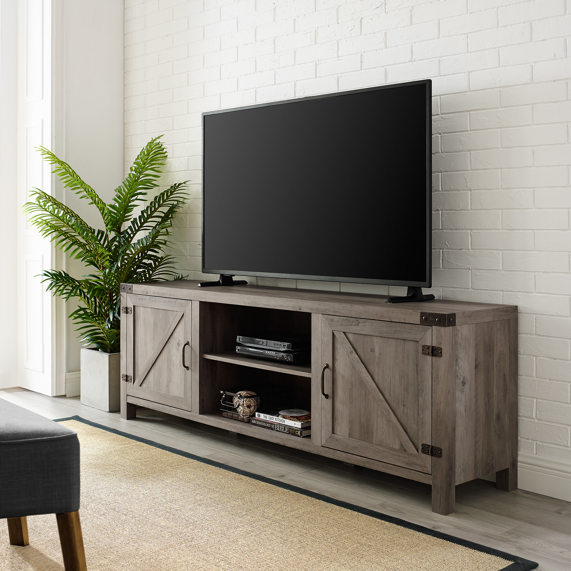 "70"" Barn Door TV Stand with Side Doors for TVs up to 75"", Grey Wash"