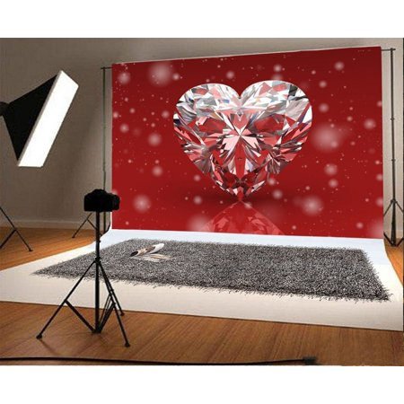 GreenDecor Polyster 7x5ft Photography Backdrop Valentine's Day Romantic Background Snowflake Diamond Heart Scene Photo Background Children Baby Adults Portraits Backdrop (Scene Backdrops)